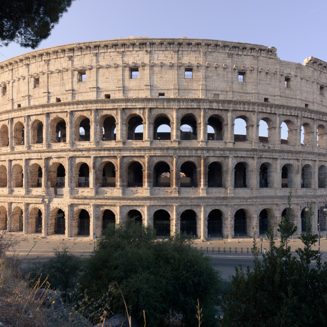 """Coliseum at sunrise from the Monte Oppio terrace, full view"" stock image"