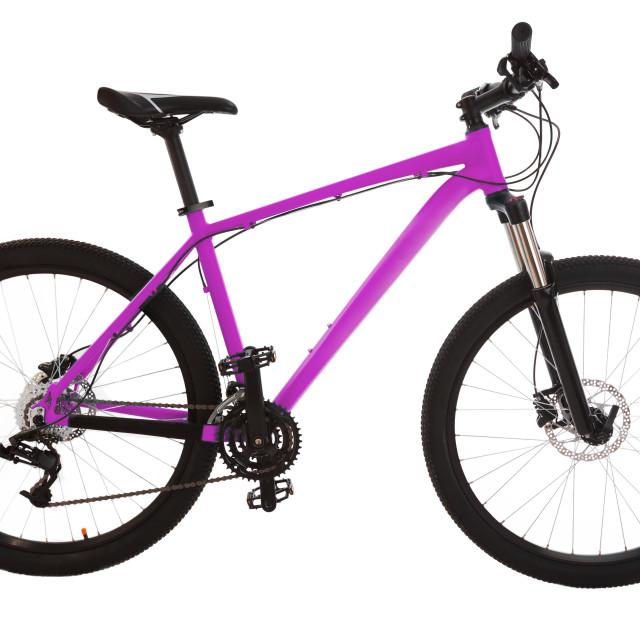 """Green mountain bike isolated on white background"" stock image"