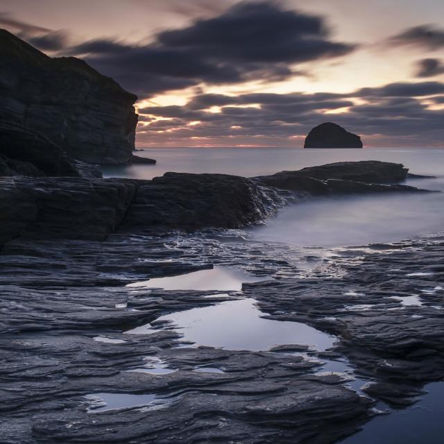 """Port William at dusk"" stock image"