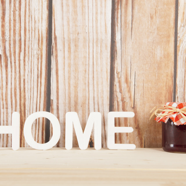 """""""Home made jam on wooden background"""" stock image"""