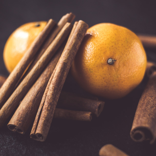 """Mandarines With Cinnamon Sticks"" stock image"