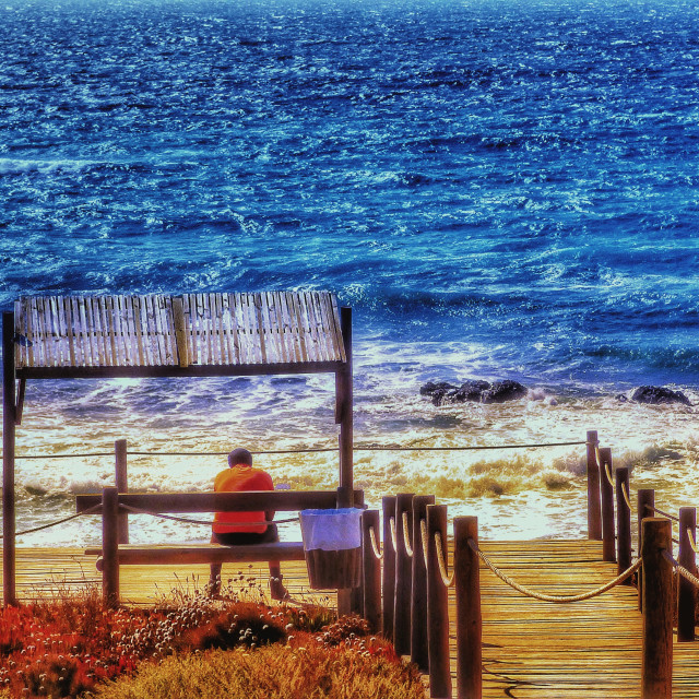 """Man sitting by the sea on a wooden bench"" stock image"