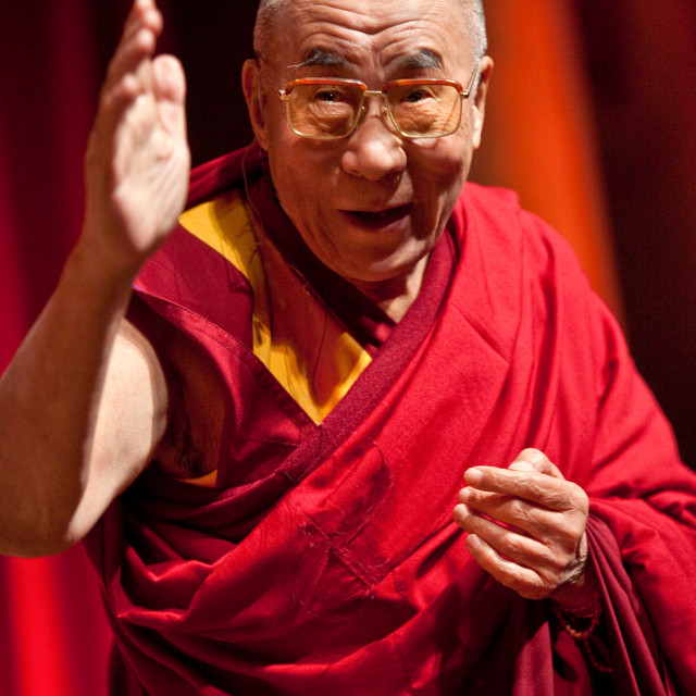 """Dalai Lama greets crowd, Washington, DC"" stock image"