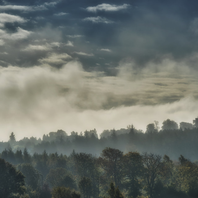 """""""Foggy Morning over Clackmannan Town"""" stock image"""