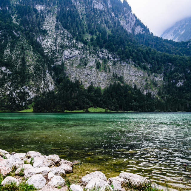 """Scenic view of Konigssee in Bavaria a misty day"" stock image"
