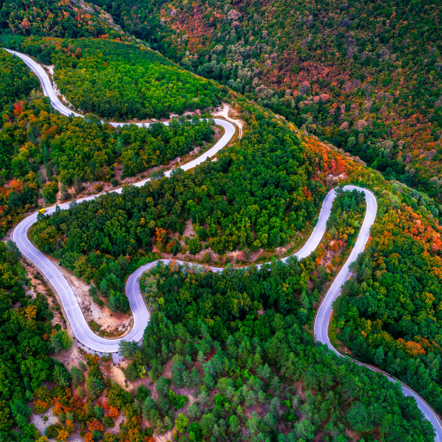 """""""Aerial view over mountain road with many curves going through fo"""" stock image"""