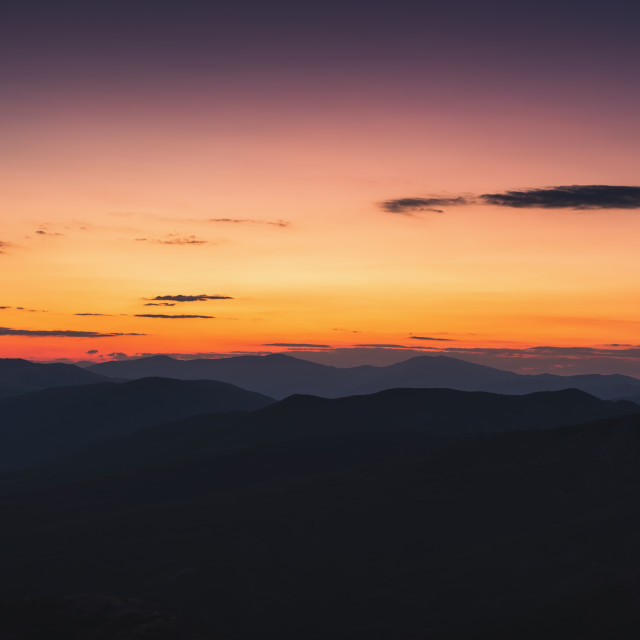 """""""Colorful sunset over the mountains, beautiful panoramic view"""" stock image"""
