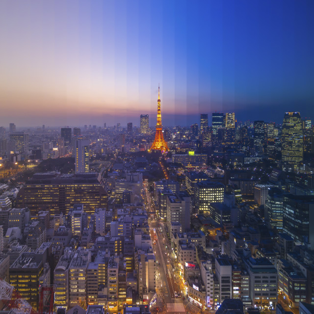 """Day to Night at Tokyo"" stock image"