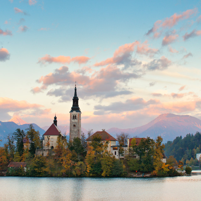 """Picturesque Slovenia, Bled lake and town in the evening."" stock image"