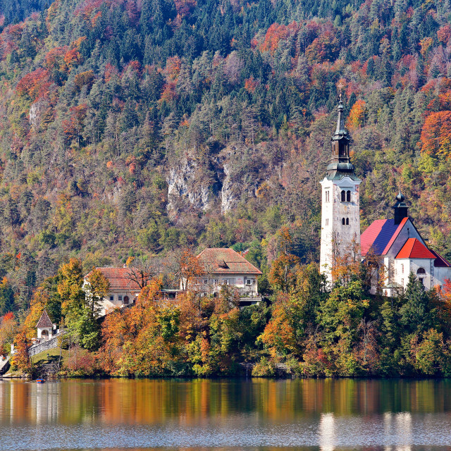 """Colorful autumn day on Bled lake, Slovenia"" stock image"