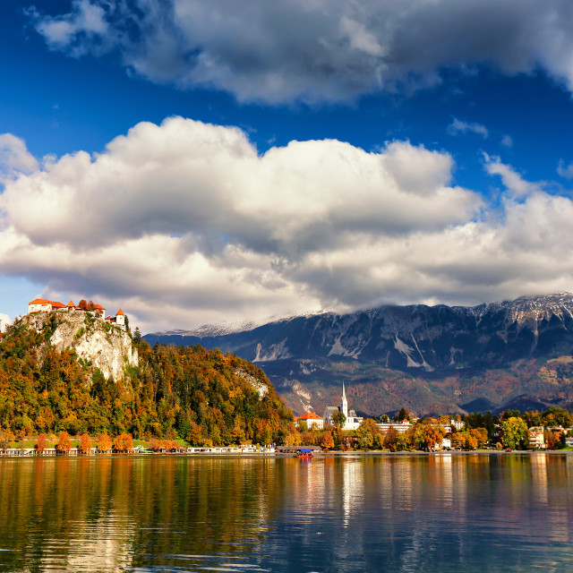 """Colorful autumn sunny day on Bled lake, Slovenia"" stock image"