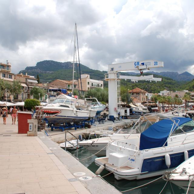 """Puerto de Soller marina, Majorca"" stock image"