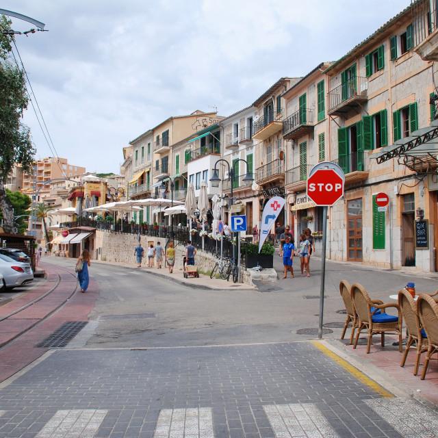 """Port de Soller town, Majorca"" stock image"