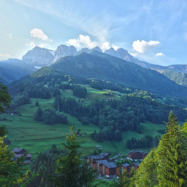 """Thermes Parc, Val-D'illiez Switzerland"" stock image"