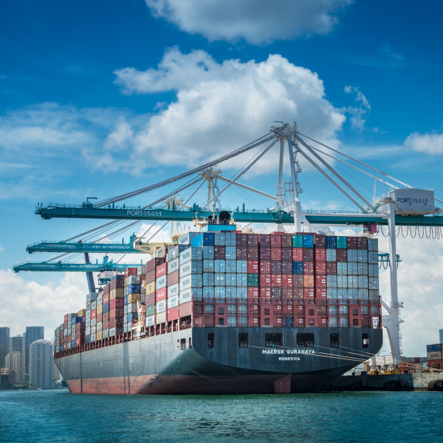 """A big one , Maersk Surabaya"" stock image"