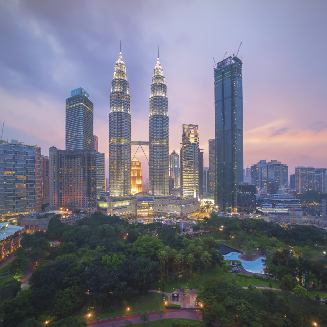 """Aerial view of beautiful cloudy sunset blue hour at Kuala Lumpur"" stock image"