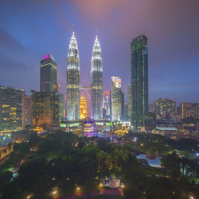 """Aerial view of beautiful blue hour at Kuala Lumpur"" stock image"