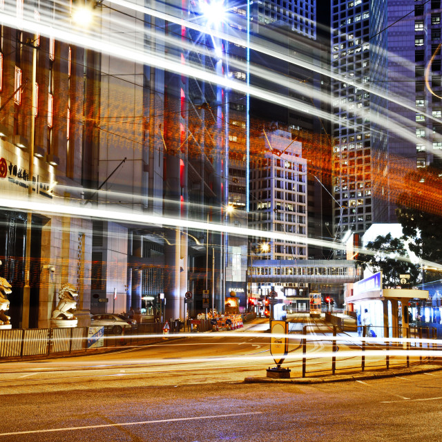 """Hong Kong Admiralty Light Trail"" stock image"