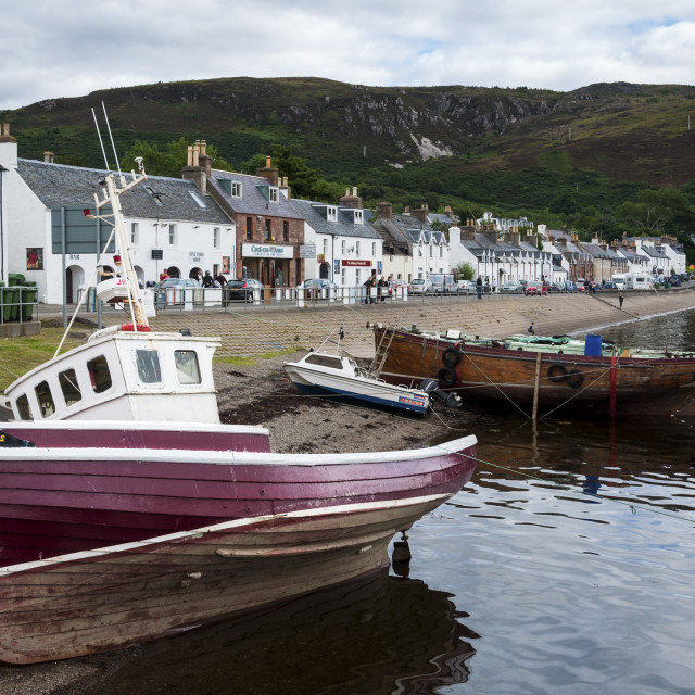 """Ullapool, Scotland - August 15, 2010: View of the village of Ullapool in the Highlands in Scotland, United Kingdom"" stock image"