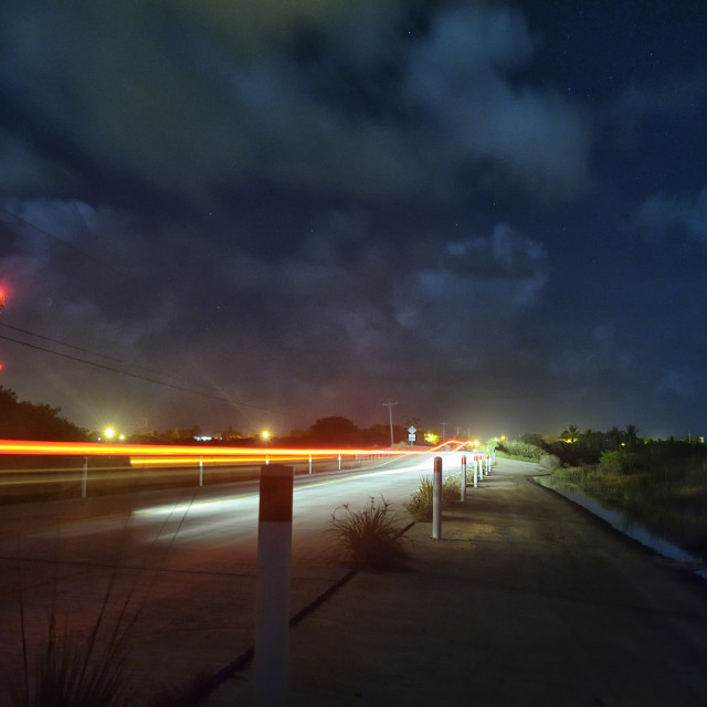 """Road at night time"" stock image"