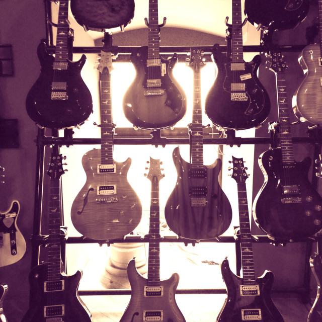 """Guitars- Sepia"" stock image"