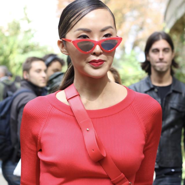 """Paris Fashion Week - Lady in Red"" stock image"