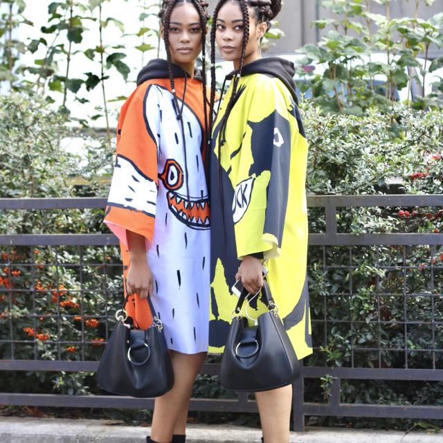 """""""Paris Fashion Week - Twins"""" stock image"""