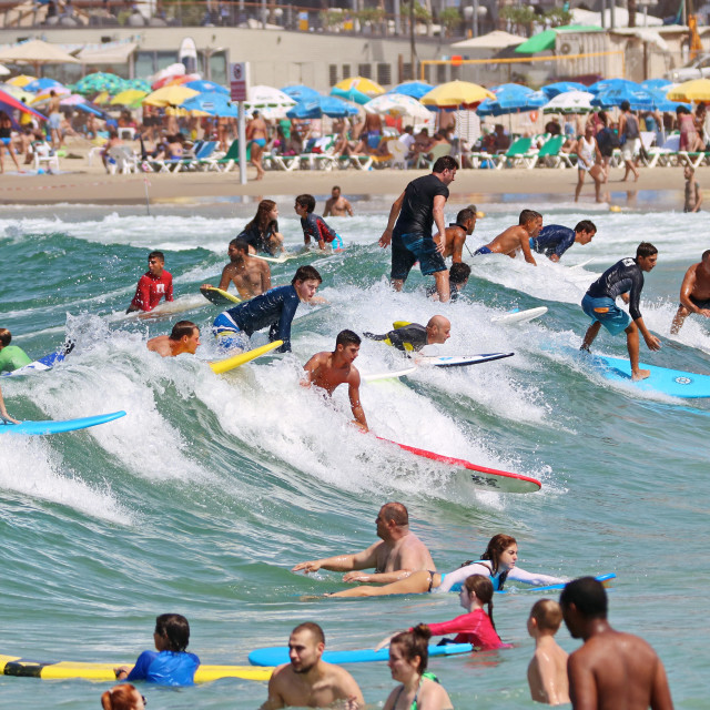 """Surfers in Tel-Aviv"" stock image"