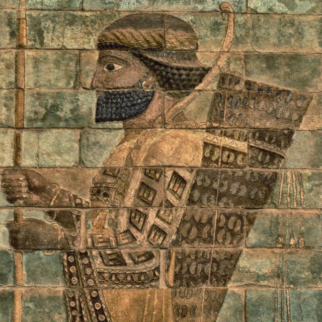 """Persian warrior, Louvre, Paris"" stock image"