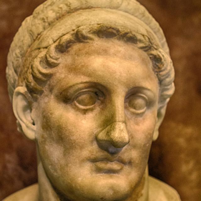 """Scupture of Roman head, Louvre, Paris, France"" stock image"