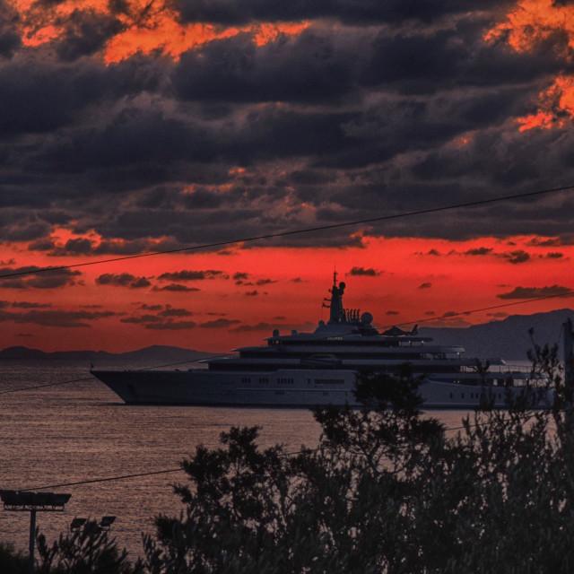 """Sunrise on Mirabello bay"" stock image"