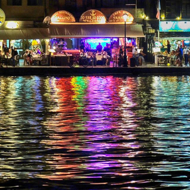 """Reflections old Venetian harbor"" stock image"