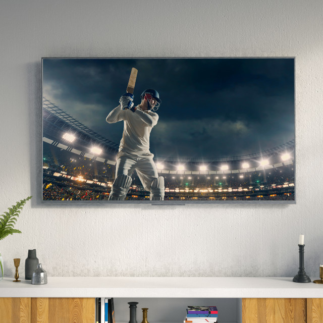 """""""Living room led tv showing cricket game"""" stock image"""