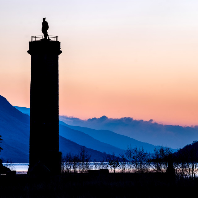 """Glenfinnan - Jacobite Monument at sundawn"" stock image"