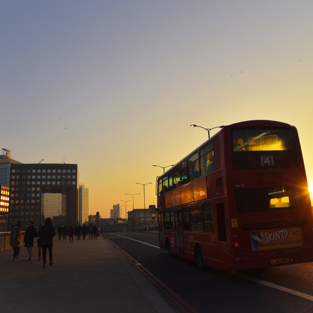 """The Bus on London Bridge"" stock image"
