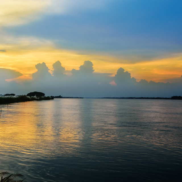 """River Ganges aka river Hooghly during dusk with copy space"" stock image"