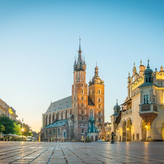 """Sunrise over the Basilica of Saint Mary in Krakow"" stock image"