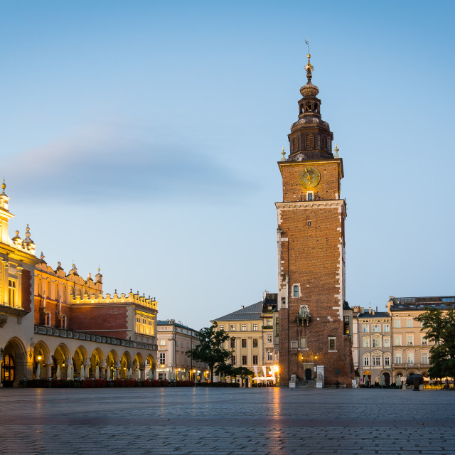 """""""Main square in Krakow with Town Hall Tower"""" stock image"""