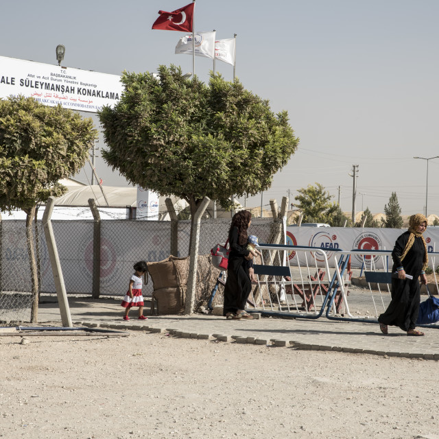 """Refugee camp for syrian people in Turkey. September 6, 2017. Akcakale, Turkey"" stock image"