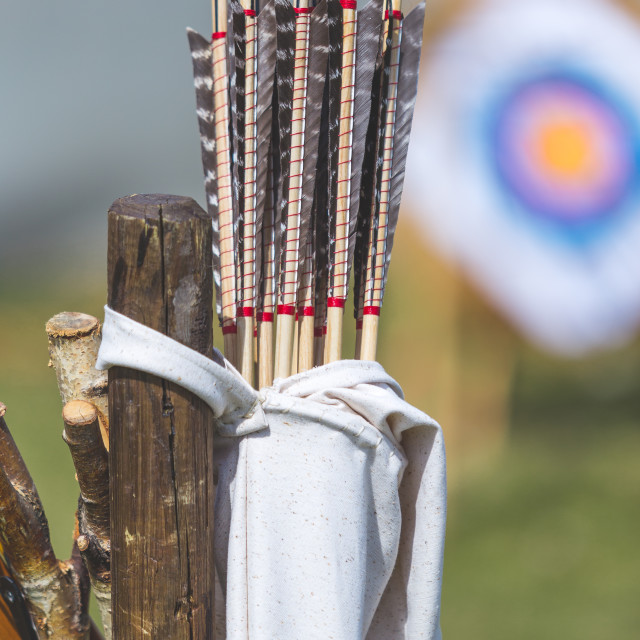 """Arrows in quiver handmade medieval style hanging on a tree with target sheet in the smudged background. Concept for historical recreation activities, festivals and games."" stock image"