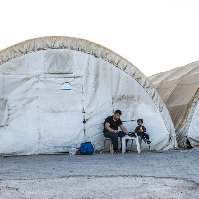 """Refugee camp for syrian people in Turkey. September 7, 2017. Suruc, Turkey"" stock image"