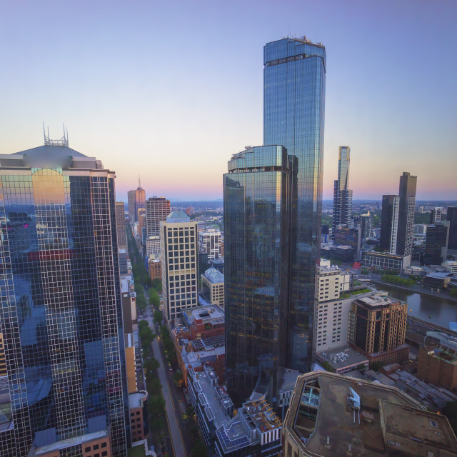 """Aerial view of Melbourne city CDB skyline during sunset"" stock image"