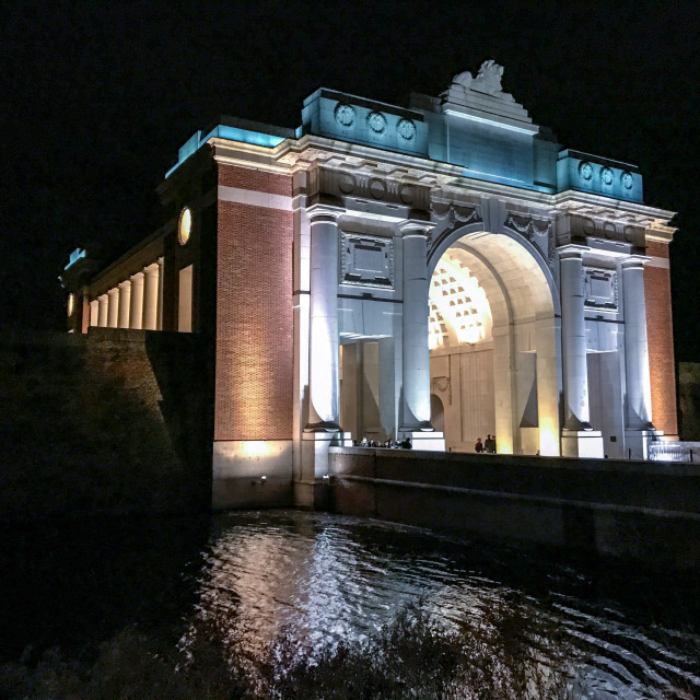 """Menin Gate at Night"" stock image"