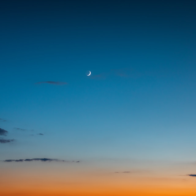 """""""Night sky landscape. A crescent moon and stars in the sky after"""" stock image"""