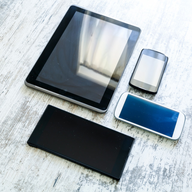 """""""Various smartphones and Tablet PCs"""" stock image"""
