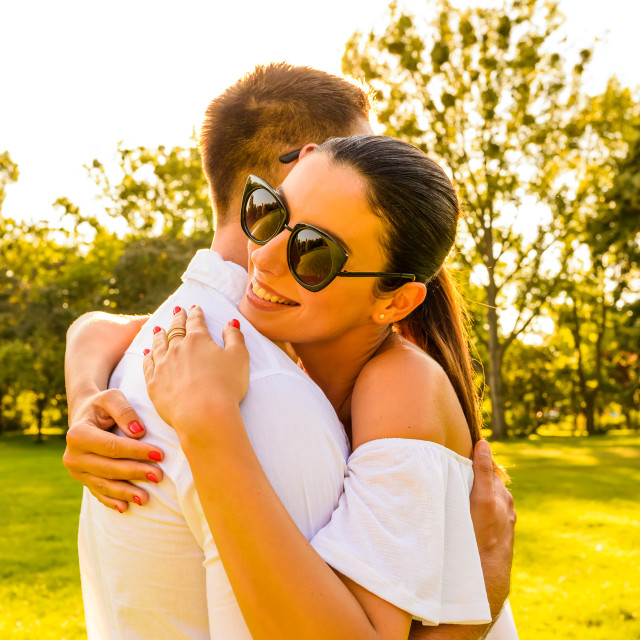 """""""Nice young couple in the park"""" stock image"""
