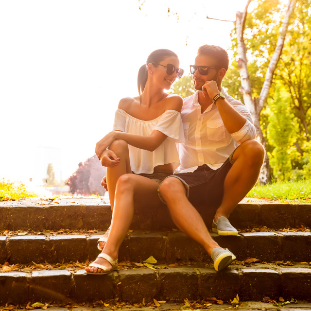 """""""Nice young couple on the stairs"""" stock image"""