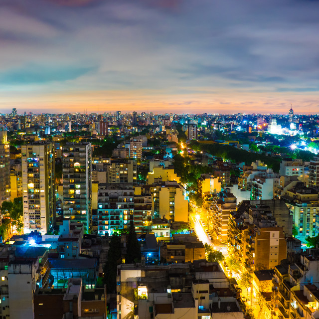 """Panoramic view of Buenos Aires at night"" stock image"