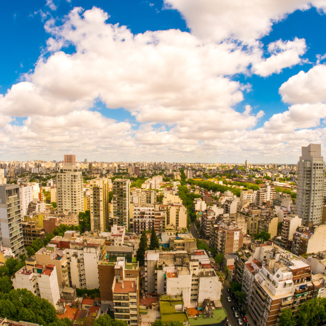 """View of the skyline of Buenos Aires on a cloudy day"" stock image"