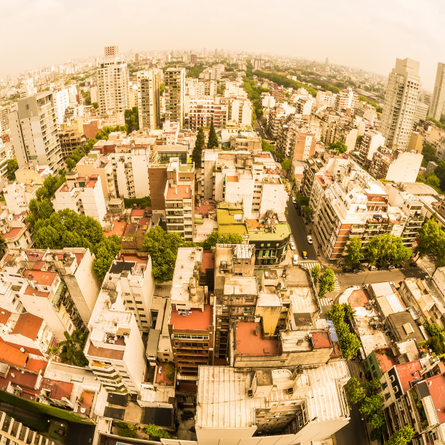 """Fisheye view on the skyline of Buenos Aires on a cloudy day"" stock image"